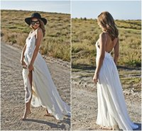 Cheap Cheap Custom Made 2015 Boho White Spaghetti Chiffon Beach Wedding Dresses Appliqued Backless A Line Lace Wedding Prom Bridal Gown