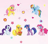 Wholesale My Little Pony Wall Stickers PVC Mural DIY Backdrop Bedroom Living Room Poster Wallpapers TV Wall Stickers Home wall Nursery Decor A481