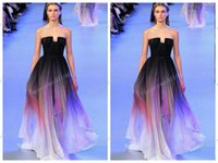 elie saab - 2015 Elie saab Backless Evening Dresses Black Colorful Dyed fabric Chiffon Pleated Floor Lenght Cheap Formal Prom Party Runaway Dress