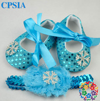 Wholesale Lake blue sequins girl toddler shoes FROZEN snowflake soft bottom baby shoes Ribbon bow square mouth casual shoes pair X2