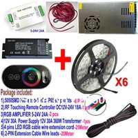 Cheap 30M Waterproof 5050 SMD RGB 60LEDs M LED Strip light 6 x 5M+RF Touch controller+30A power supply+RGB Amplifier 24A+2 4 pin CABLE