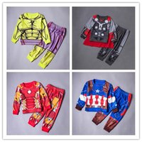 Wholesale Soft and Comfortable Children s Pajamas Long Sleeve O Neck T Shirt Pants Cartoon Cotton the Avengers homewear Boys Girls Kids Clothing