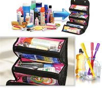 Wholesale Free DHL ROLL AND GO Fashion Letter Cosmetic Bag Multi function Fashion Women Makeup Bag Hanging Toiletries Travel Kit Jewelry Organizer