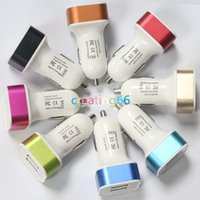 Wholesale 100pcs aluminium ring square dual port car usb charger adapter usb car charger for iphone6 plus s s samsung galaxy s5 note4 usb