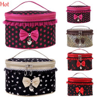 Wholesale Women Cosmetic Bag Princess Travel Makeup Storage Organizer Box Make up Tool Holder Beauty Lace Travel Dots Leopard Cosmetic Case SV012825