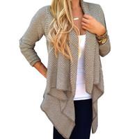Wholesale 2015 New Arrival Autumn Winter Women Blusas Casual Loose Knit Cardigan Jacket Long Sleeve Irregular Sweater Coat Plus Size Ym