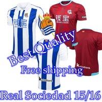 Envío libre 3A +++ Real Sociedad 100% Tailandia Nueva España blusa de calidad 2015/2016 Real Sociedad tailandesa 15/16 fútbol Jersey con capucha Futbol