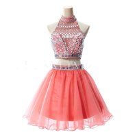 beautiful women skirts - Tow Pieces Beautiful Party Dresses A line High Neck Stunning Crystal Beaded Chiffon Women Formal Prom Gowns Custom Made Short Skirt