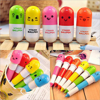arts expression - Six Different Expressions Pill Shape Retractable Ball Point Pen Rollerball Pens Creative Stationery Children s Gifts cm