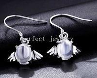 Wholesale Moonstone drop earring Natural real moonstone sterling silver Angel earrings Fine gemstone Fine jewelry DH