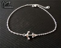 anchor jewelry - Hot Sell Fashion Friendship Jewelry Gold Plated Women Charm Bracelets Simple Sideways Anchor Chain Bracelet