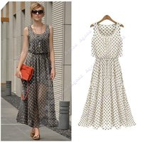 Wholesale 2015 New Fashion Elegant Women s Spring Long Chiffon Polka Dot Sleeveless Maxi Dresses S M L XL XXL SV003488