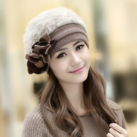Wholesale 2015 New Fashion Winter Fashion Two Flower Rabbit Fur Hat Winter Hat For Women Girl