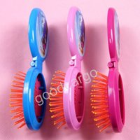 Wholesale Frozen Elsa and Anna Folding Comb with Mirror Chrismas Gift Airbag Comb Kid Girls Hair Brush Comb Easy Carry for Tour and Party