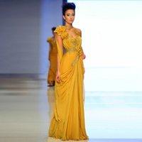 achat en gros de dessins appliques main-Nouveau 2015 arabe design célébrité robes de soirée une ligne jaune haute cou fait main fleurs Appliques étage longueur Moyen-Orient robes de soirée