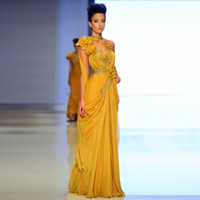al por mayor diseños mano apliques-Nuevo 2015 Diseño árabe Celebrity vestidos de noche Una línea Amarillo Alto Cuello hecho a mano flor Appliques piso longitud Oriente Medio Vestidos de noche