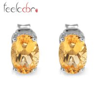 Cheap High Quality 1.4ct Genuine Citrine Earrings For Women Oval Cut Solid 925 Sterling Silver Stud Charms Gemstone Jewelry Brand New