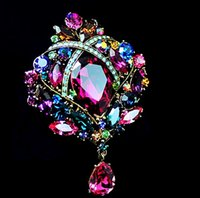 Wholesale Elegant Bronze Plated Large Size Multicolored Rhinestone Crystal Water Drop Bridal Jewelry Pin Brooches for Wedding