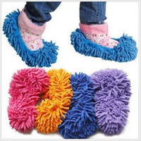 Wholesale chenille shoes cover slippers set mop wigs clean shoes cover slippers Mops