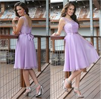 Wholesale Short Bridesmaid Dresses Backless Sheer Lace Jewel Neck Knee Length Chiffon A Line Lavender Maid of Honor Dress Formal Party Gowns