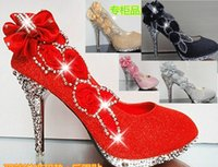 Pumps High Heel Round Toe Hot New Sparkling Flowers Diamond Wedding Women's Dress Shoes Pink Gold Black Red Silver Bride Bridesmaid 10CM High Heels Party Prom Shoes