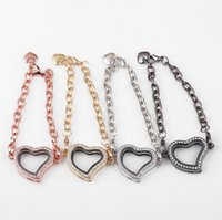asian glasses frames - Top Fashion Magnetic Floating lockets heart shaped rhinestones high quality transparent glass frame charm bracelet a065