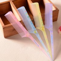 Wholesale 24pcs Portable Slender Handle Plastic Hair Combs Transparent Cartoon Style Hairbrushes Ladies Dressup Tools by128