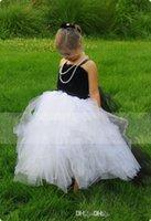 black and white flower girl dresses - Latest Desinger Classic Black And White Flower Girl Dresses Spaghetti Strapless Ball Gown Floor Length Zipper Back Flower Girl Dress