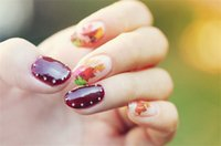 autumn leaf stickers - New Fashion Canada Maple Leaf Autumn Butterfly DIY Tools Tips Water Transfer Manicure Nail Stickers