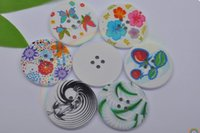 Wholesale mm circular printed wooden buckle large buttons DIY decorative buckle children buttons sweater decoration Optional c