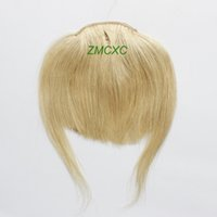 Wholesale High Quality Straight Clip In on Bang Fringe Remy Human Hair Extensions Light Blonde