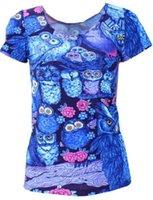 Cheap BLUE COLOR MIDNIGHT OWL NeW 2015 women summer t-shirt Punk spandex shirt sexy clothing