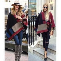 Wholesale 2015 Autumn and Winter Wool Cashmere Blanket Style Cape Shawl Sweater Women Fashion Contrast Color Wool blend Poncho cloak soft shawl1712008