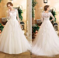 autumn kelly - 2016 Vintage Church Wedding Dresses Long Sleeve Miss Kelly High Neck Covered Button Wedding Dresses With Lace Crystal Sheer Bridal Gowns