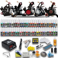 Wholesale Complete Tattoo Guns - Complete Tattoo Kits 5 Pcs Tattoo Machine Guns 54 Colors Inks Sets Power Supply Needles Starter Kit D179GD-6