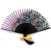 Wholesale New Arrival Folding Foldable Hand Held Fan Bamboo Silk Butterfly Flower Fan Party Decor
