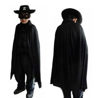 achat en gros de cape zorro-Masque de Zorro Costume Set Eye Cape Chapeau de Hallowmas 3 Pcs enfants pour Halloween Cosplay partie de mascarade