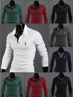 Wholesale 2015 Spring men s polo shirt fawn Embroidery Slim Fit Stylish causal t shirts Cotton Breathable long sleeve Men Polo Shirts PL