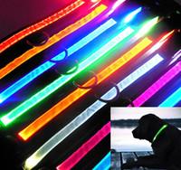 Wholesale Adjustable Size LED Light Flashing Pet Dog Safety Collar For Night Nylon LED Light Up Dog Collar Pet Night Safety Bright Flashing