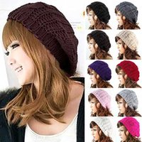 Beanie/Skull Cap beanie hat - New Fashion Women s Girl s Warm Knitted Hats Caps Baggy Beret Chunky Cotton Wool Braided Beanie AX47
