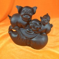 african ebony wood - KAR African ebony wood family portrait three pigs Lucky town house Series Indoor Office Supplies