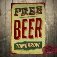 beer items - Free Beer Bar Poster Retro Metal Craft Decor Wall art Signs CM Mix Items A