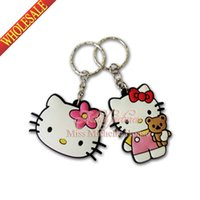 Wholesale New Style Hot Sale Hello Kitty PVC Cartoon Keychain Charms Creative Lovely Keyrings Chains Kawaii Cartoon Key Chains Party Gift Favors