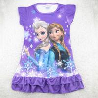 Em 2015 Venda da Hot girls vestidos do verão congelado Princesa padrões crianças camisola dos desenhos animados 100% dos miúdos de algodão pijama vestido sleepwear