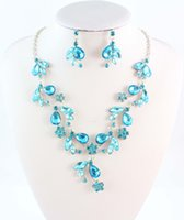 Wholesale Fashion Jewelry Austrian Rhinestone Crystal Silver Plated High Quality Necklace Earring Bride Wedding Jewelry Sets Colors