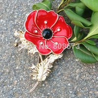 Wholesale Red Poppy Pin Brooch Gold Tone Poppy Flower Brooches UK Fashion BROOCH