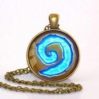world of warcraft - WoW World of Warcraft Hearthstone Glass Round Pendant Charm Necklace Jewelry Chain Blue PendantS men Jewelry women gift CN449