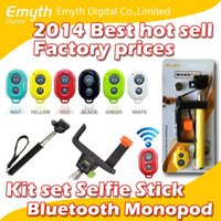 Aluminum Alloy bags shutters - Factory price Bluetooth Remote Shutter L style Phone Clip Monopod For iPhone IOS Galaxy Android in kit set selfie stick with retail bag