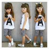 Wholesale Little Girl Clothes For Sale - 2016 Girls Boutique Outfits Kids White Vest Letter Printed Tops +Leopard Half Pants Clothing Set Little Girls Matching Outfits Set for Sale