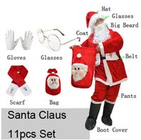 beard cover - Christmas Costumes Santa Claus Costume For Adults mascot includes hat wig beard costume boot cover glasses bag gloves etc
